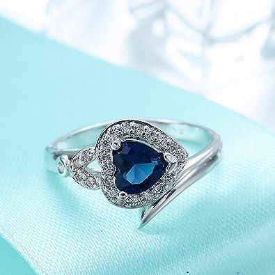 COMVIP Solitaire Bague Cristal Bleu Ajour/ée Anneau Mode Plaqu/é Argent/é 925