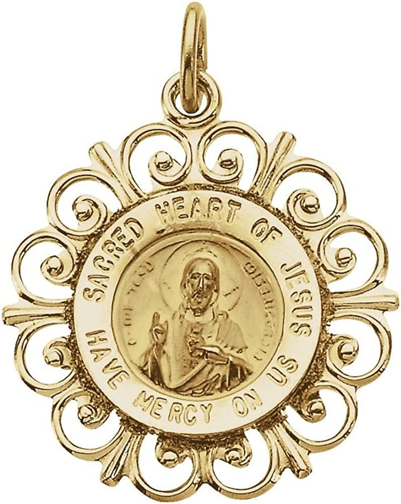 FB Jewels 14K Yellow Gold 18mm Round Sacred Heart of Jesus Medal