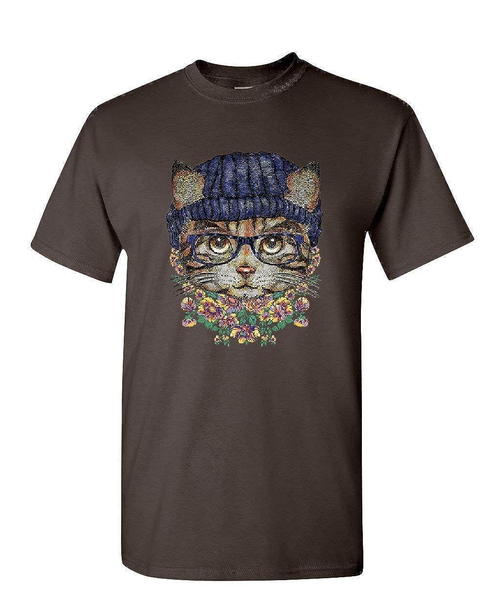 Hipster Kitty in Glasses Beanie T-Shirt Cat Kitten Pop Culture Mens Tee Shirt