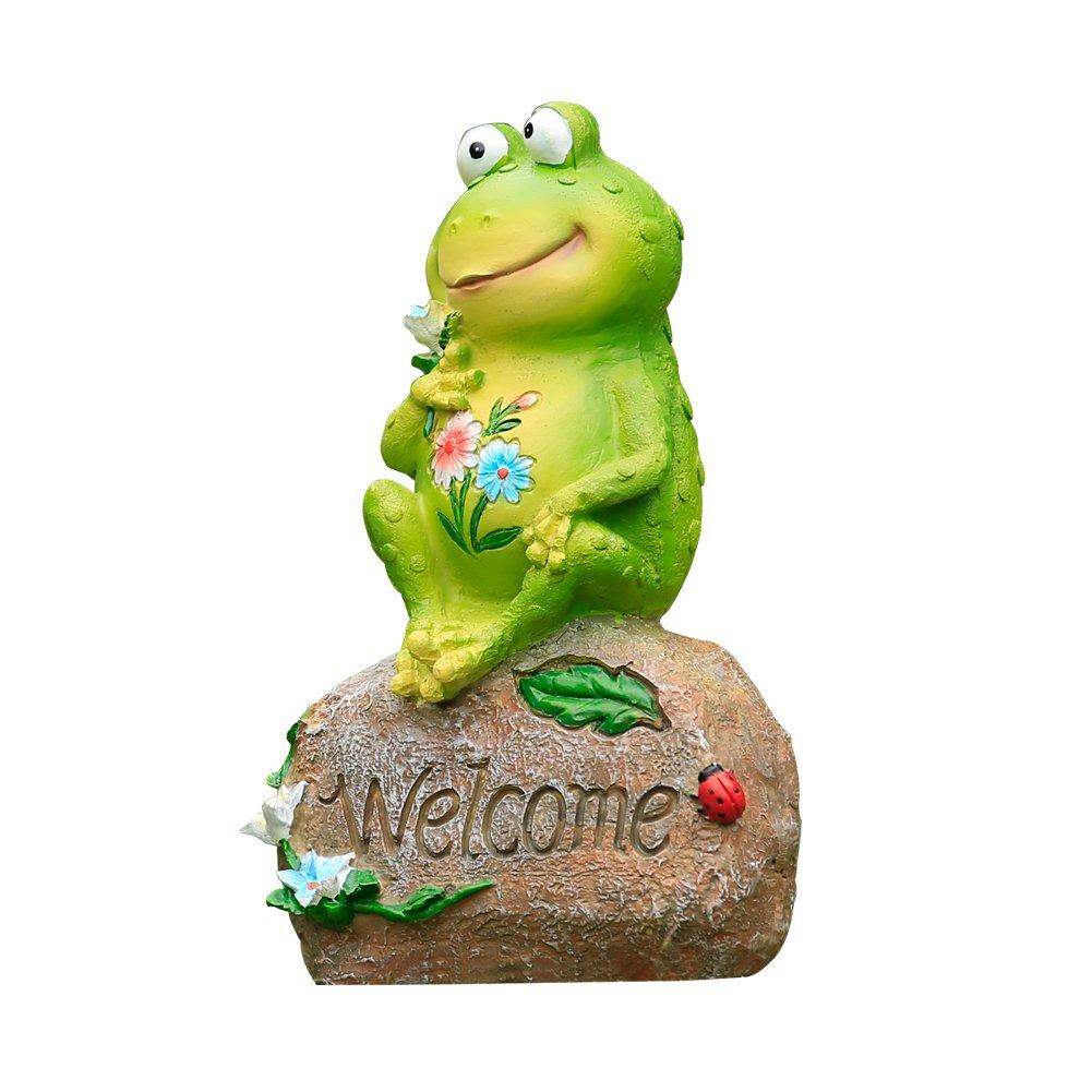 LANKER 9 Inch Frog Garden Welcome Statues Sculptures Outdoor Decor (9'' Frog)