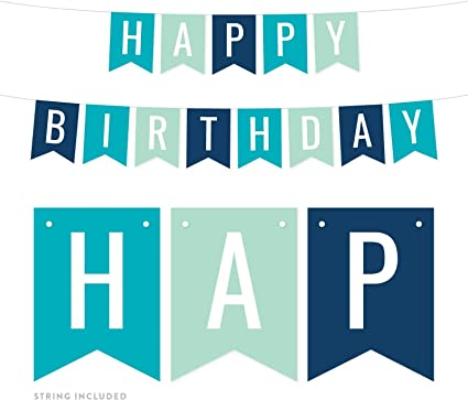 Blue Birthday Banner Pennant Banner Happy Birthday Banner Party Decoration. Personalized Banner