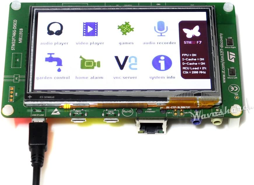 Waveshare STM32F7 Discovery Kit STM32F746G-DISCO with STM32F746NG On-Board ST-LINK//V2-1 and Uno V3 Connectors STM32 ARM Development Board