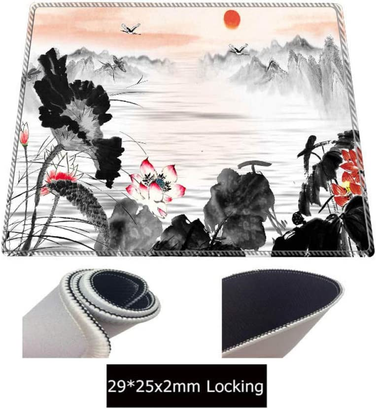 WHFDSBD Landscape Painting Durable Rubber Mouse Mat Pad Size for 30X60Cm 40X90Cm Large Locking Edge Mouse Pad
