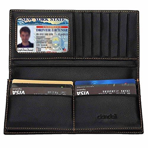 Black Leather Long Wallet (Dandeli Classical Long Wallet Men's Genuine Leather RFID Blocking Wallet)