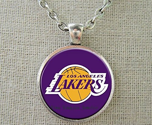 Los Angeles Lakers Basketball Necklace - Enamel Pendant Charm Chain Jewelry Unisex - Shipped from U.S.A. by...