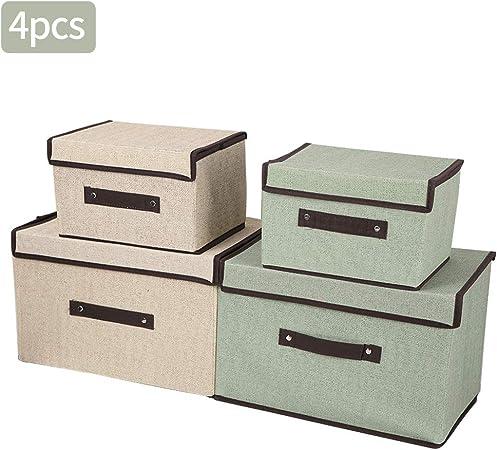 mreechan Caja de Almacenamiento Plegable, 4 Cajas de Almacenamiento Plegables con Tapas, Cubos de Almacenamiento en organizadores de algodón y Lino para Juguetes, Ropa, Libros, y más: Amazon.es: Hogar