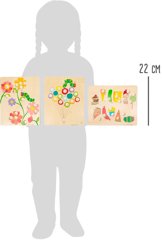 Jouets /éducatifs en Bois Multicolore Small Foot 11431 Couleur la Chenille aui Fait des Trous Jeu de Voyage