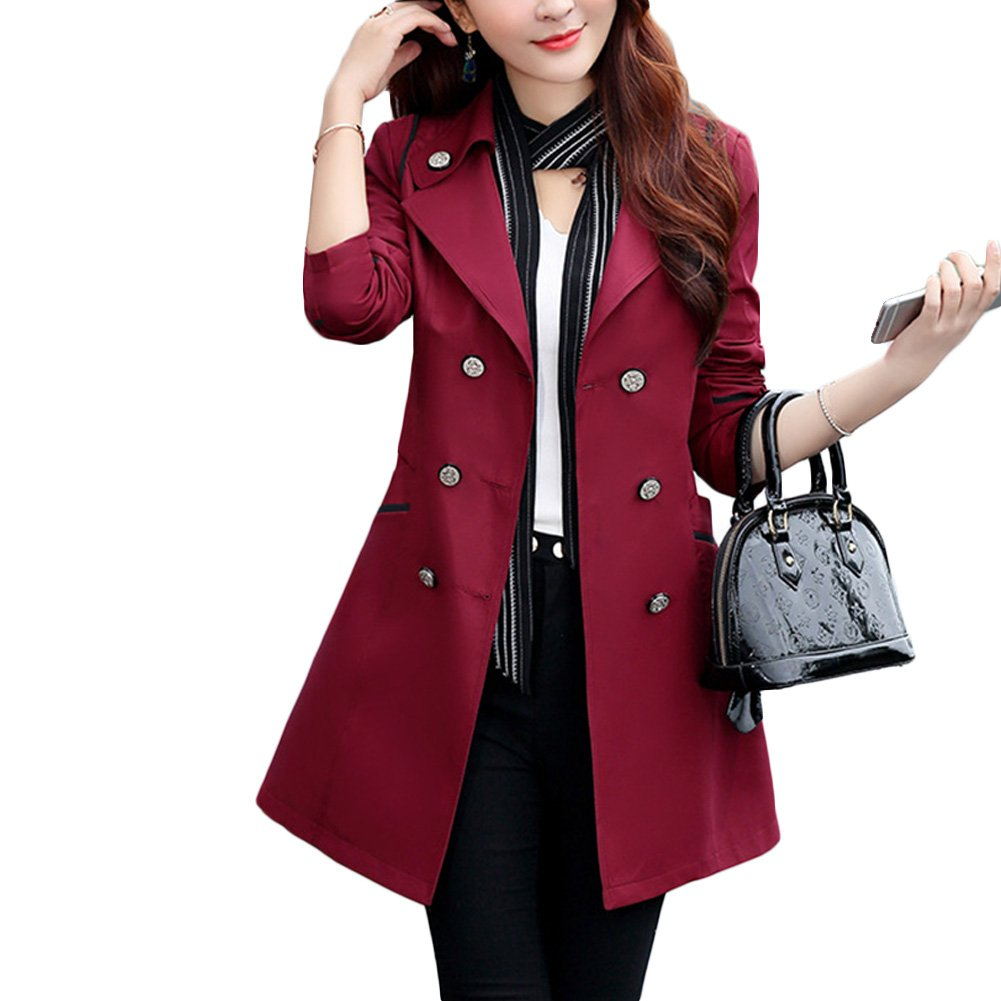Verypoppa Women's Double Breasted Lapel Thin Trench Coats Jackets (US 10/12 = Asian 3XL, Wine Red)