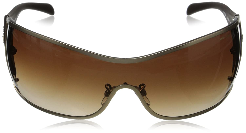 4d5d918f1c5 POLICE S8826 0648 Mens Wraparound Visor Sunglasses MATTE GOLD MATTE BROWN BROWN  GRADIENT  Amazon.co.uk  Clothing
