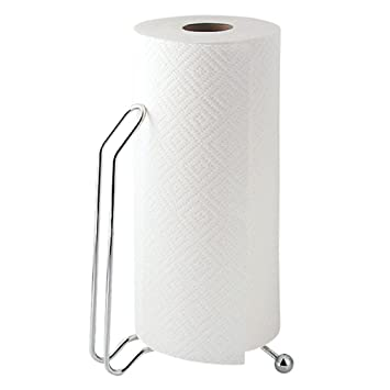 mDesign - Porta rollo de toallitas de papel; para mesada de cocina - Cromado