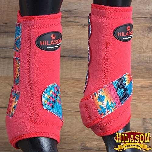 HILASON Medium RED Aztec Horse Front Leg Protection Ultimate Sports Boots Pair