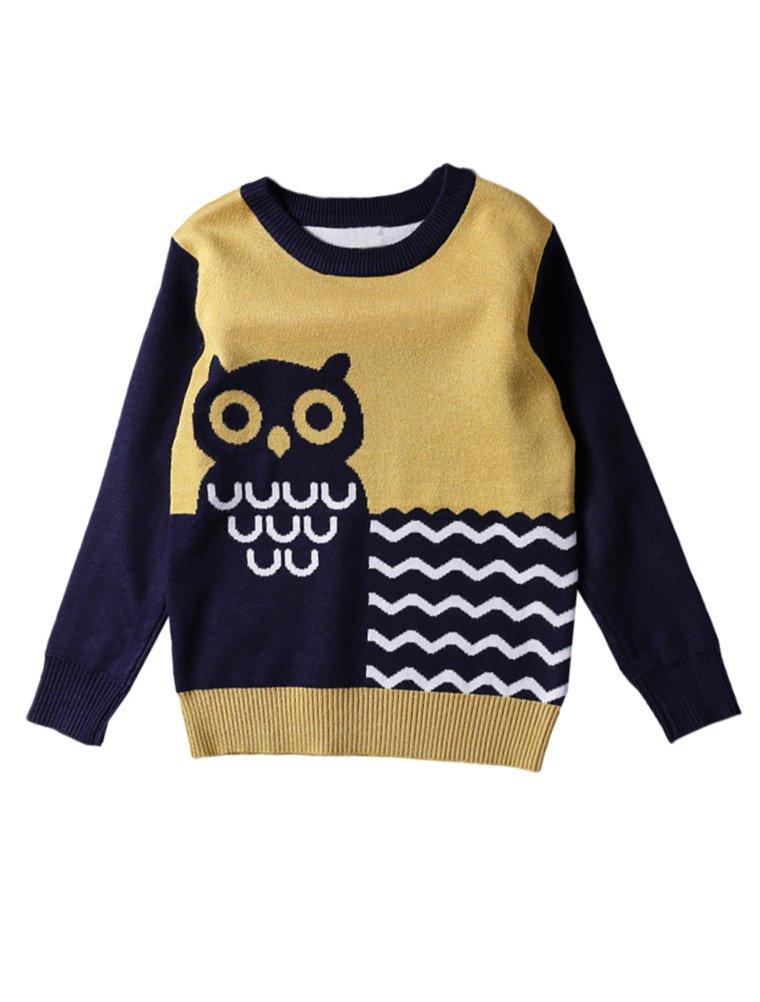 Mallimoda Boys Girls Long Sleeve Pullover Crewneck Unisex Owl Knit Sweater Yellow 4-5 Years