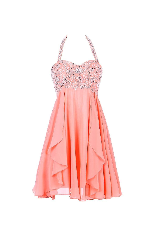 YiYaDawn Short Backless Halter Ball Prom Dress for Teenagers