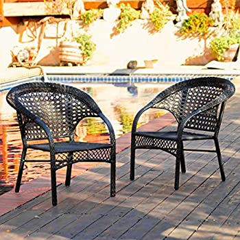Malibu Patio Furniture ~ Outdoor Wicker Stacking Patio Dining Chair (Set of 2)(Black)