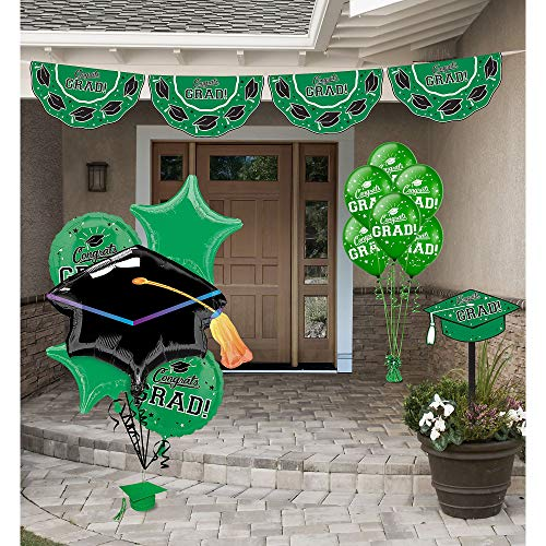 Party City Green Congrats Grad 2019 Graduation Outdoor Decorating Supplies with Bunting, Yard Sign, Balloons, and More