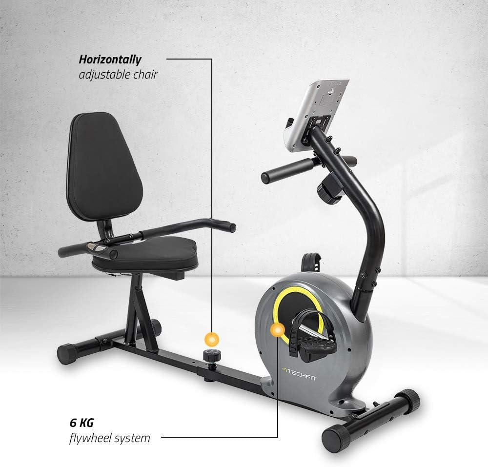 Asiento Ajustable TechFit R300 Bicicleta Est/ática Reclinada Sensores de Pulso y Monitor LCD con Volante de Inercia de 6 KG Ideal para Ejercicios de Recuperaci/ón en el Hogar