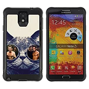 Hybrid Anti-Shock Defend Case for Samsung Galaxy Note 3 / Glasses Cat Fight Club