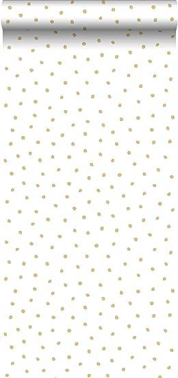 papier peint à motif de points or brillant et blanc - 138937 ...