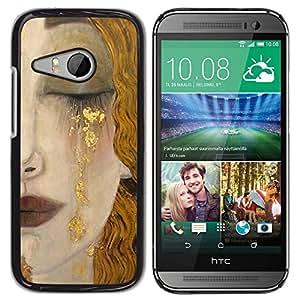 TopCaseStore / la caja del caucho duro de la cubierta de protección de la piel - Blonde Hair Face Sad Cry Lips - HTC ONE MINI 2 / M8 MINI