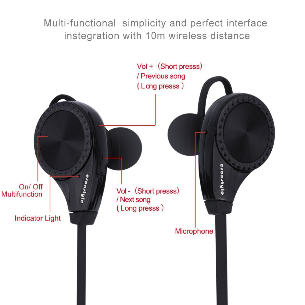 Ecandy Wireless Bluetooth Headphones with Mic for Running, Sweatproof Earphones,Noise Cancelling Headsets - Black