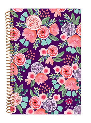 "bloom daily planners 2017-18 Academic Year Daily Planner - Passion/Goal Organizer - Monthly and Weekly Datebook and Calendar - August 2017 - July 2018 - 6"" x 8.25"" - Purple Floral"