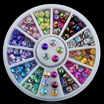 Amazon.com  Mixed Color Chameleon Rhinestone DIY Glitter Acrylic AB Rhinestones  Nail Wheel Charm 3D Nail Art Decorations Manicure Nails Tool  Beauty c0b3e62b8891