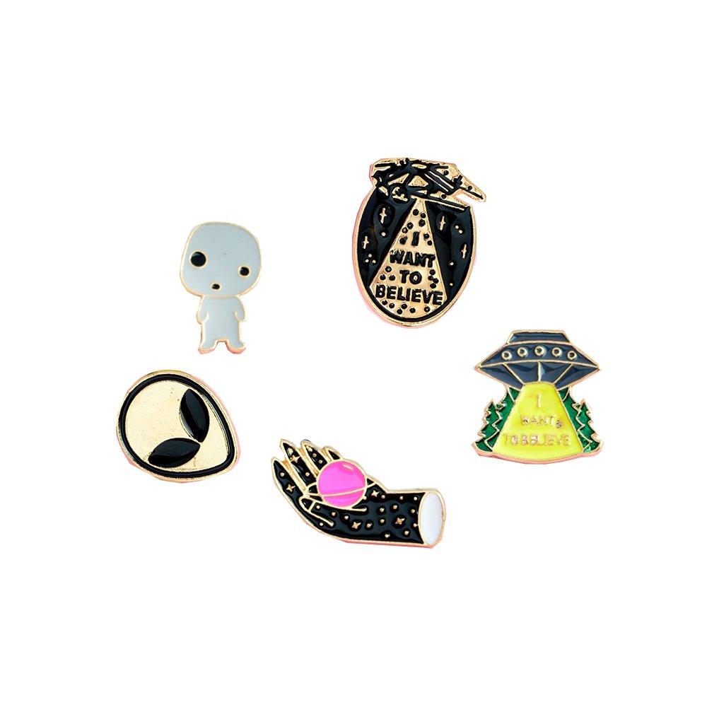 5pcs/set I want to believe ufo alien X-files enamel pin badge UFO pin Alien pin