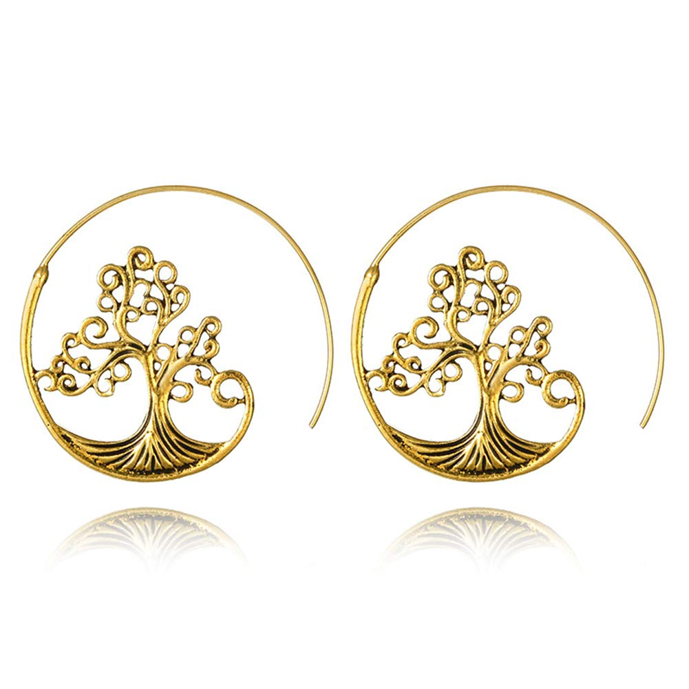 Tree Spiral Hoop Earrings Antique Hollow Tree Carving Tribal Swirl Earrings Dangle Drop for Women Girls
