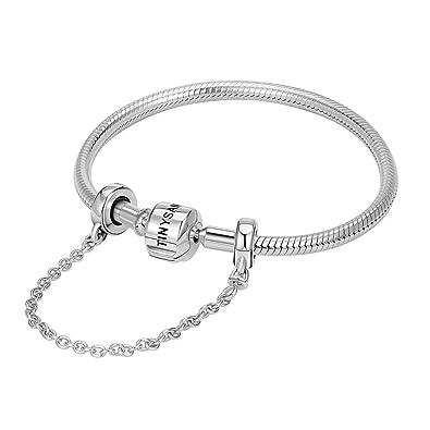 info pour a421f 84b3c TINYSAND - Bracelet Pandora stytle Simple en Pur Argent 925 Sterling, Jonc  de Base avec Chaine Securite Commun Europeen,compatible avec les charms ...