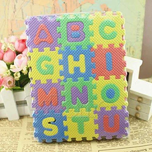 OKOKMALL US--36Pcs Mini Size Puzzle Alphabet A-Z Letters Numeral Foam Mat Kid Educational Toy