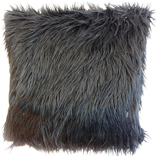 The Pillow Collection EURO-SF-MONGOLIAN-BLACK-FAUXFUR Black