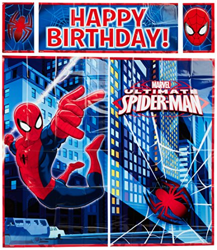 5-Piece Spider-Man Scene Setter Set, Multicolored - Giant Paper Bag Costume