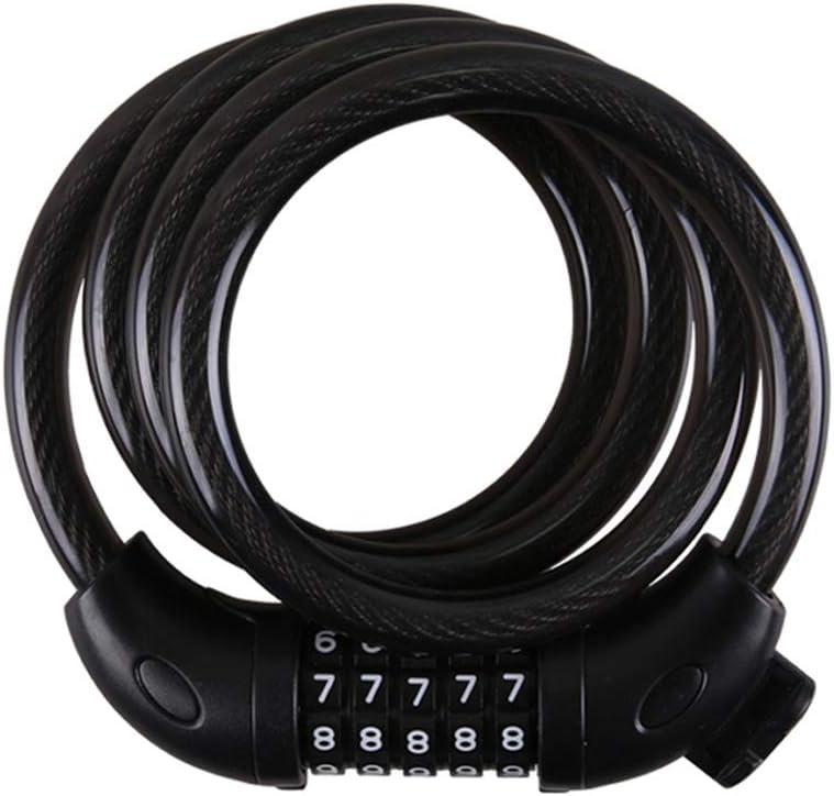 VORCOOL TONYON Professional Motorcycle Mountain Bike Bicycle 5 dígitos antifurto de segurança codificada combinação de cadeado de senha com corrente de aço (preto) por VORCOOL