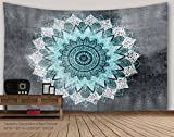 ALFALFA Wall Hanging Nature Art Polyester Fabric Tapestry, For Dorm Room, Bedroom,Living Room - 90''W x 60''L (230cmx150cm) - Grey-blue Mandala