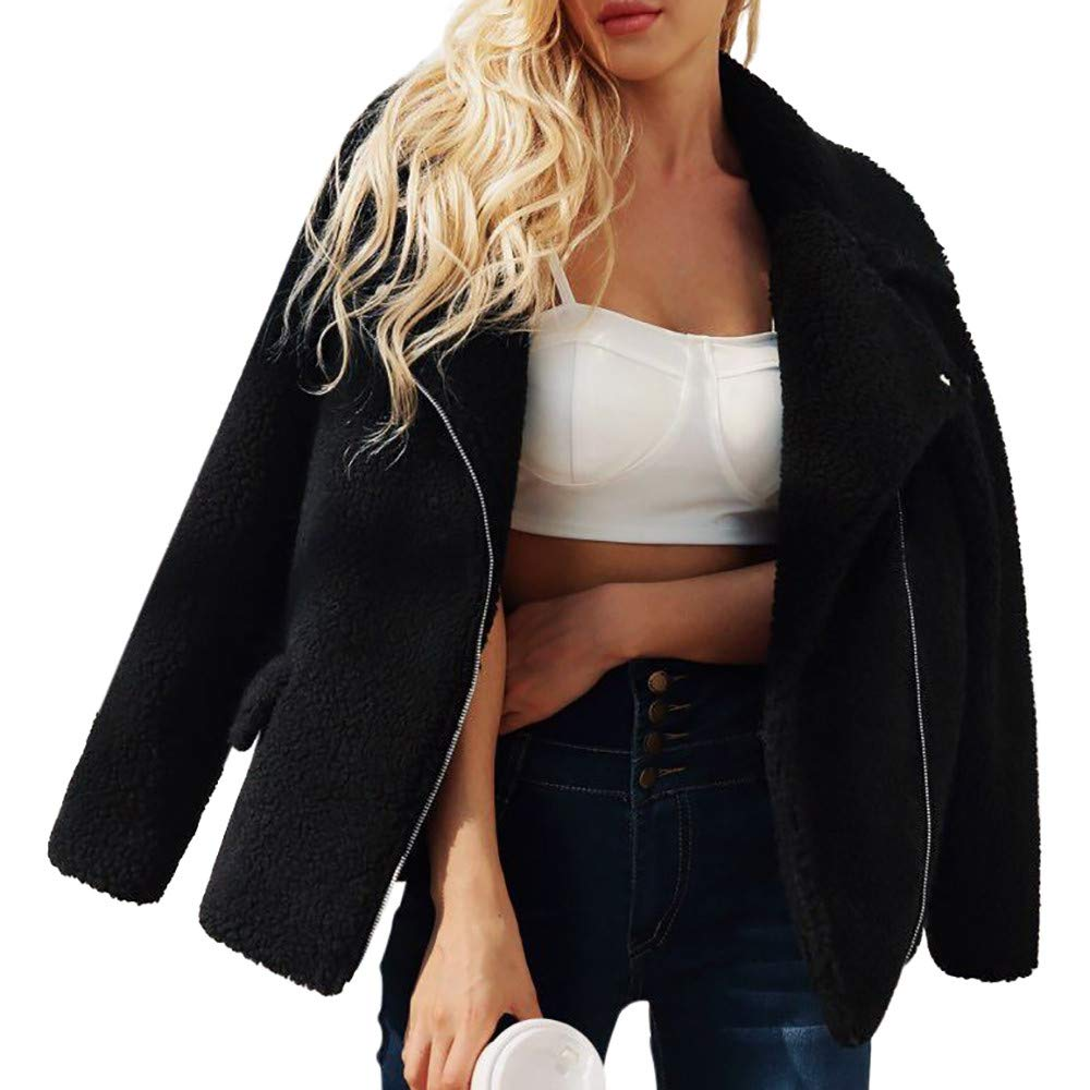 PENGYGY Women Ladies Coat Wool Artificial Hot Zipper Jacket Parka Winter Outwear Outdoor Fashion Pocket by Pengy--Jackets (Image #3)