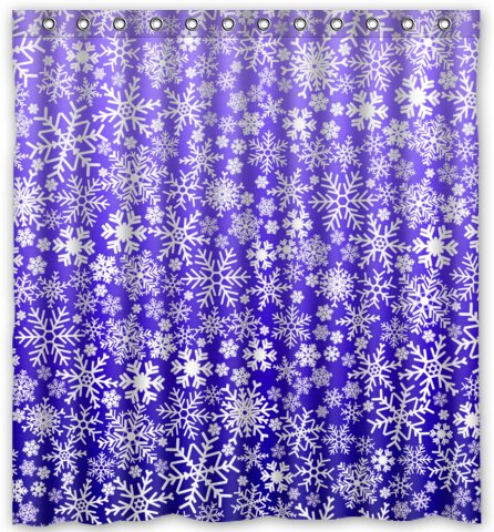"""Luxury Gifts Snow flakes shower curtain (66"""" x 72"""" ) Bath Accessory"""