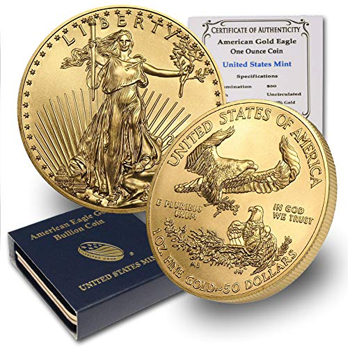 1986 - Present (Random Year) 1oz American Gold Eagle $50 Brilliant Uncirculated w/US Mint Box & Our COA