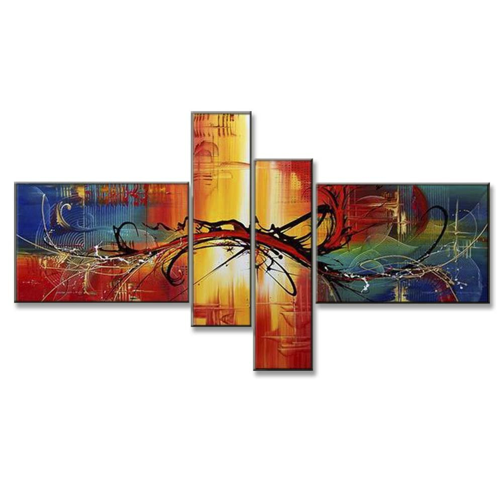 Hand Painted Split Canvas Paintings Unframed 4 Pieces - 72X40 inch (183X102 cm) for Living Room Bedroom Dining Room Wall Decor To DIY Frame Home Decoration - Lisbon Abstract by Neron Art