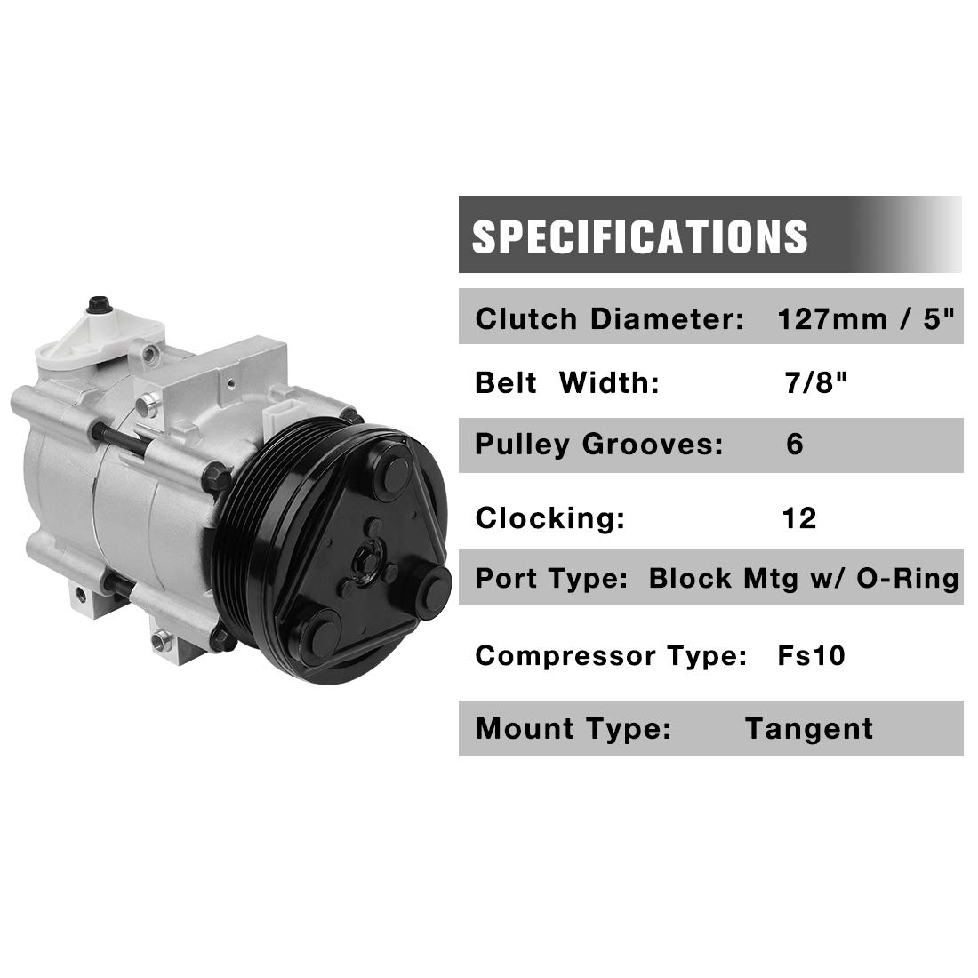 Amazon.com: 6 Grooves A/C Compressor & Clutch for Ford F-150, F-150 Heritage, F-250 Super Duty, F-350 Super Duty, Mustang, Thunderbird, Excursion, ...