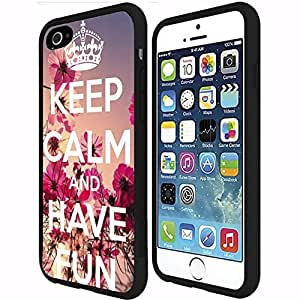 Keep Calm and Have Fun Floral Rubber Snap on Phone Case (iphone 5 5s )