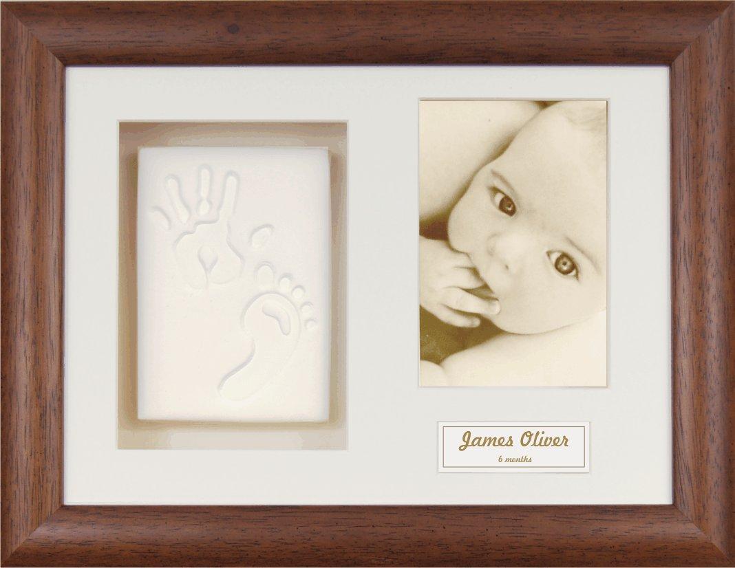 Anika-Baby BabyRice Bilderrahmen - aus Holz - mit weicher - weißer Tonmasse für Hand- und Fußabdruck - Beige