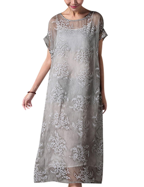 Youlee Damen Sommer Blume gestickt Chiffon Kleid