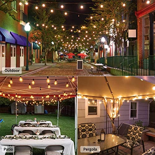 Outdoor String Light 100Feet G40 Globe Patio Lights with 104 Edison Glass Bulbs(4 Spare), UL Listed Waterproof Hanging Lights for Backyard Balcony Deck Party Decor, E12 Socket Base, Black