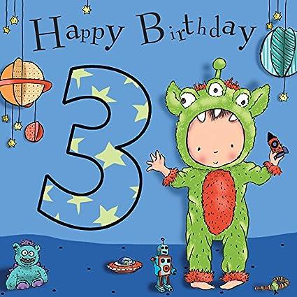 Twizler 3rd Tarjeta de cumpleaños para Boy con espacio ...