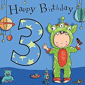 Twizler 3rd Birthday Card For Boy With Cute Space Monster Cut Out
