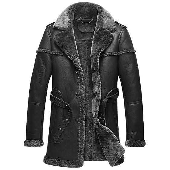 CWMALLS Men's Shearling Sheepskin Coat CW878578 at Amazon Men's ...