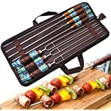 Zoeson BBQ Skewers - Premium Stainless Steel Wooden Handle - for Shish Kebab, Turkish Grills & Koubideh, Brazilian-style BBQ - Set of 7 +1 X Handy Storage