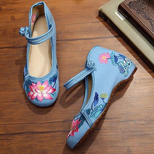 NGRDX Oxford blue Bordado Chino Planos Zapatos Zapatos Mujer Zapatos Mujer amp;G Lotus rwzqPr