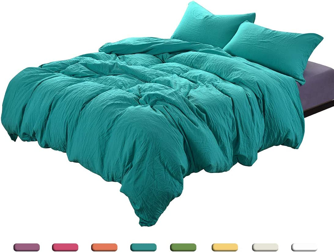 2-Piece Duvet Cover Twin, 100% Washed Microfiber Duvet Cover, Ultra-Soft Luxury & Natural Wrinkled Look, Bedding Set (Twin, Aqua)