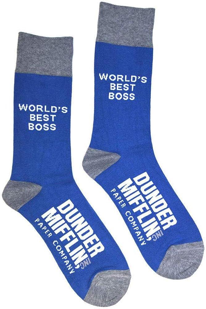 The Office World's Best Boss Michael Scott Dunder Mifflin Knit Dress Socks - Blue and Grey, One Size Fits All